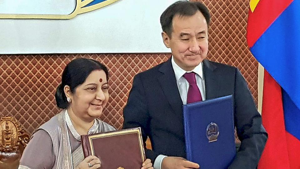 भारत मंगोलिया सुषमा स्वराज
