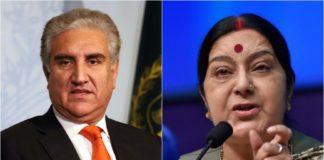 भारतीय विदेश मंत्री सुषमा स्वराज और पाकिस्तानी विदेश मंत्री शाह महमूद कुरैशी