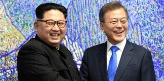 उत्तर कोरिया के नेता किम जोंग उन और दक्षिण कोरिया के राष्ट्रपति मून जे इन