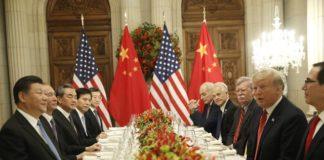 जी 20 में चीन और अमेरिका की बैठक के दौरान का दृश्य